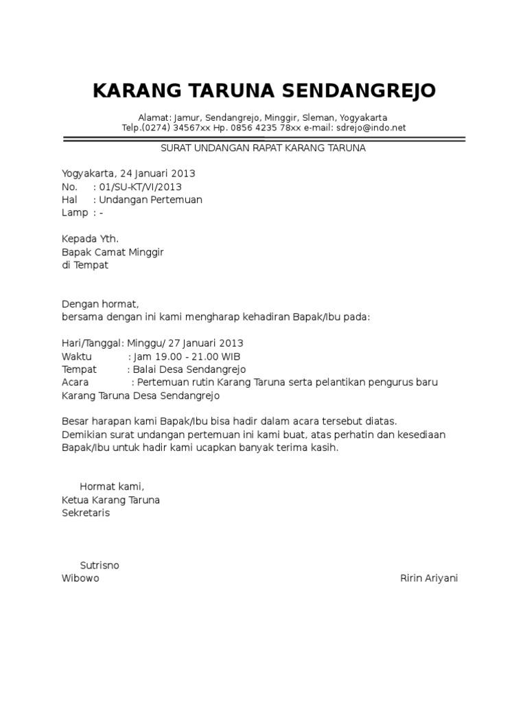 Contoh Surat Undangan Rapat Karang Taruna Pdf