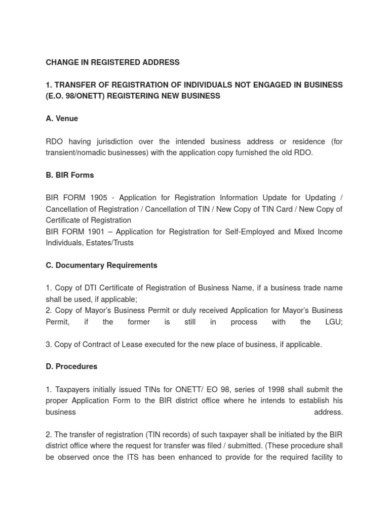 Bir change in registered address taxes employment madrichimfo Image collections
