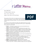 final project - cover letter memo
