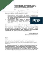 OBC Certificate proforma