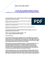 GSCM 434 Week 5 Lab the Columbia Lumber Products Company (CLPC) Was Headquartered in Portland