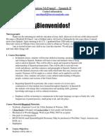 spanish 2 syllabus