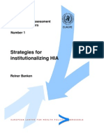 Strategies for Institutionalising HIA - ECHP WHO - 2001