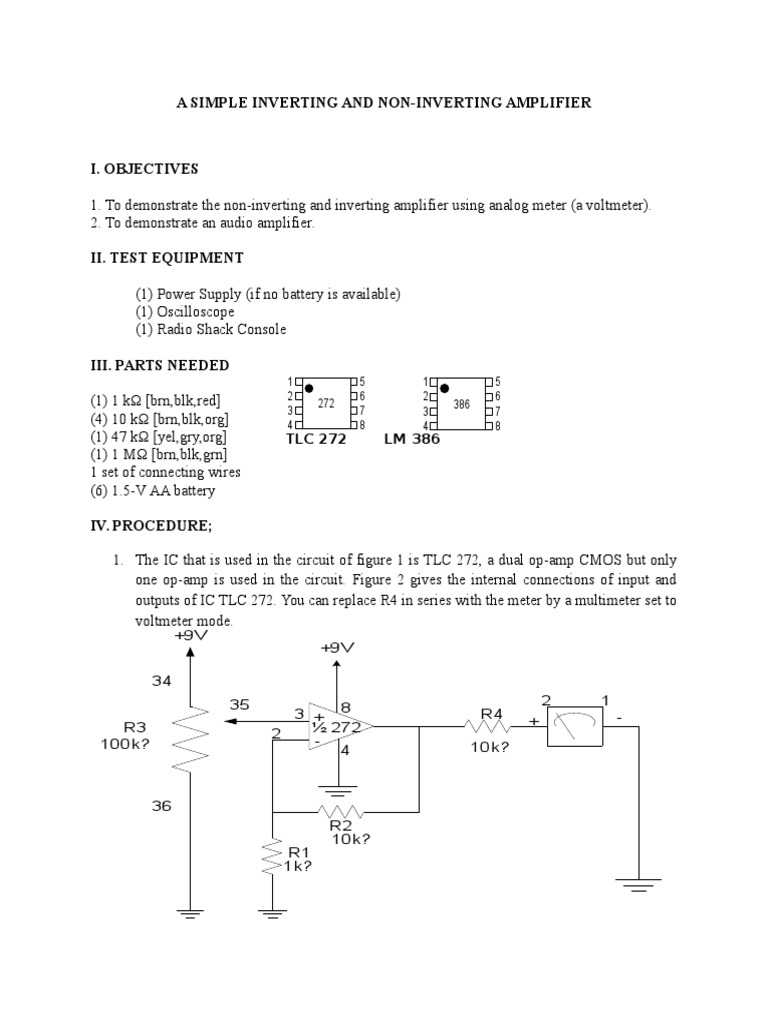 A Simple Inverting And Non Amplifier The Operational Used As An Explanation