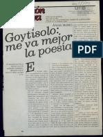 Goytisolo, Me Va Mejor La Poesía