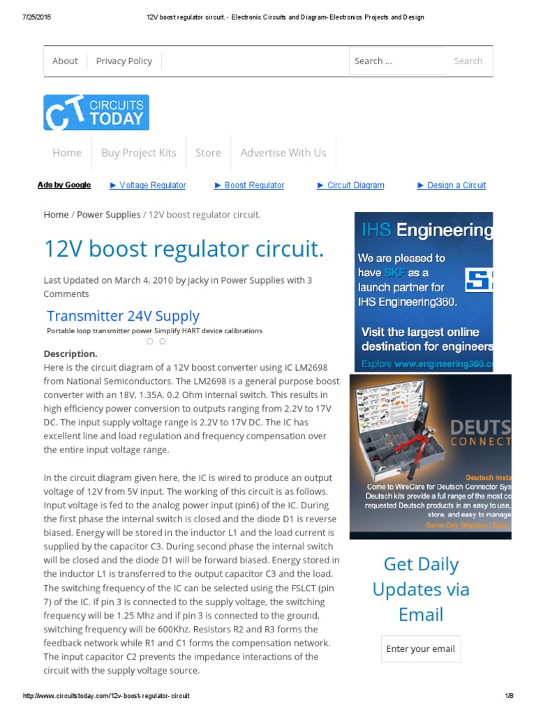 12v Boost Regulator Circuit Electronic Circuits Power Supply Diagram Of Electronics Projects