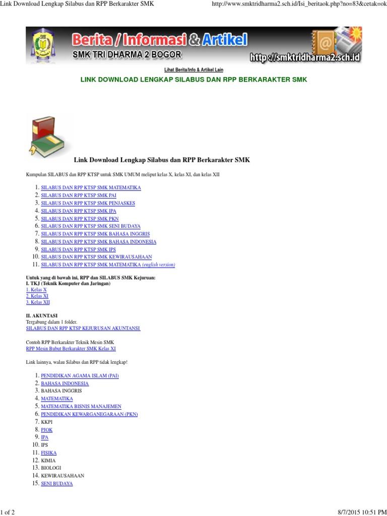 Link Download Lengkap Silabus Dan Rpp Berkarakter Smk