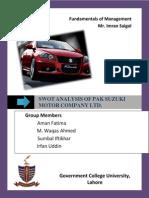 SWOT Analysis of Pak Suzuki