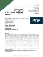 Bloor Et Al. (2013), Room for Manoeuvre. Regulatory Copliance in the Global Shipping Industry