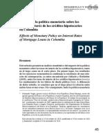 Efectos de La Politica Monetaria Sobre Las Tasas de Interes de Los Créditos Hipotecarios