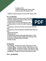 Vickolapre Production Schedule