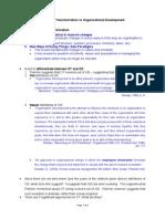 Organisational Transformation vs Organisational Development Notes
