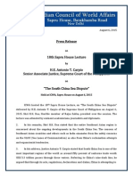 Press Release on Eigtheenth Sapru House Lecture by Justice Carpio on South China Sea/ West Philippine Sea Dispute