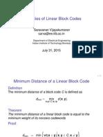 Properties of Linear Block Codes