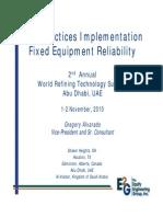 Best Practices Implementation - Fixed Equipment Reliability 2010 Greg Alvarado