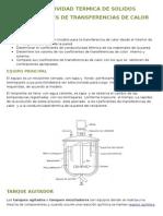 CONDUCTIVIDAD TERMICA DE SOLIDOS Y COEFICIENTES DE TRANSFERENCIAS DE CALOR