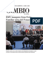 08-08-2015 Diario Matutino Cambio de Puebla - RMV Inaugura Gran Feria Familiar 2015 Del Fonacot