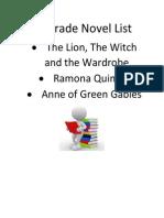 5th grade novel list