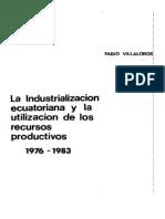 La Industrialización Ecuatoriana y La Utilización de Los Recursos Productivos 1976 - 1983