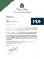 Carta de condolencias del presidente Danilo Medina a Gracita Caolo viuda Viyella