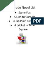 4th grade novel list