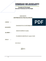 Diagnostico e Informe Psicologico Monografía de Entrevista Psicologica