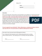 Answer Sheet, Math 009 Spring 2015 Exams
