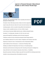 Leading Industry Experts to Present Dynamic Educational Sessions and Case Studies at 2015 Drone World Expo