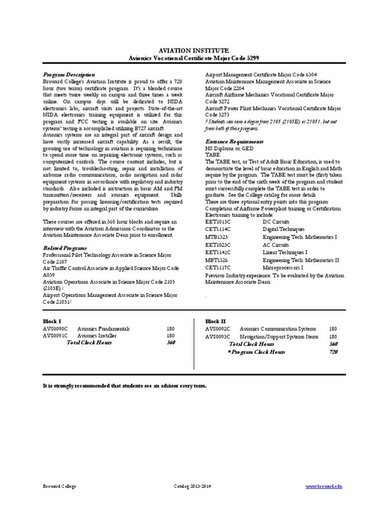 Avionics Vocational Certificate Avionics Professional Certification