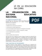 Resumen  ORGANIZACIÓN DEL SISTEMA EDUCATIVO NACIONAL