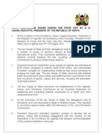 Joint Communiqué Issued during the State Visit by H. E. Uhuru Kenyatta, President of The Republic of Kenya