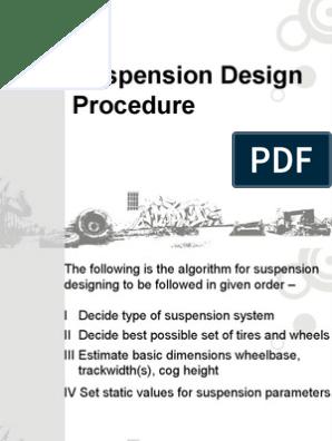 Suspension Design Procedure | Suspension (Vehicle) | Force