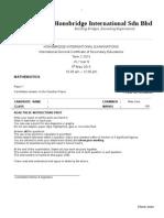 Y9 Math Checkpoint Exam P1