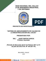 Aseguramiento de Calidad en La Industrializacion Del Cacao