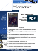 Boletín Nuevas Adquisiciones CD-CISH AGOSTO 2015