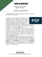 COMUNICADO A LA OPINIÓN PÚBLICA   LA SECRETARÍA DE SALUD Y SEGURIDAD SOCIAL DEL MUNICIPIO DE MONTERÍA RECOMIENDA: