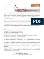 Edital 009 2015 Programa Municipal de Incentivo a Cultura Procultura