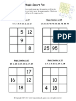 Magic Square Worksheets 1