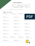 Evaluación Matemática TABLAS