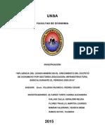 INFLUENCIA DEL CANON MINERO EN EL CRECIMIENTO DEL DISTRITO DE UCHUMAYO POR SECTORES (EDUCACIÓN, INFRAESTRUCTURA BÁSICA) DURANTE EL PERIODO 2005-2014