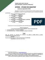 Brosura Admitere Master - Septembrie 2015 - Pentru Site