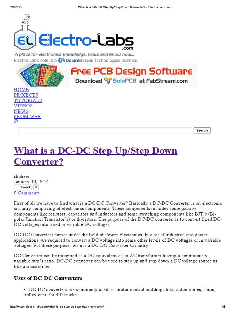 What Is A Dc Step Up Down Converter Electro Labspdf To Circuit Field Effect Transistor Direct Current
