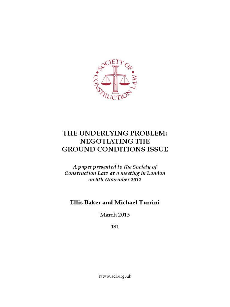 Scl the underlying problem ground conditions common law scl the underlying problem ground conditions common law private law fandeluxe Images