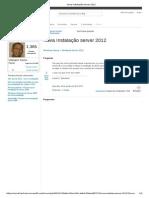 Nova Instalação Server 2012