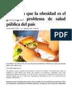 Advierten Que La Obesidad Es El Principal Problema de Salud Pública Del País. Noticia El País Cali. Agosto-09-2013
