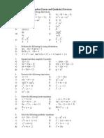 Year 10 Algebra Revision