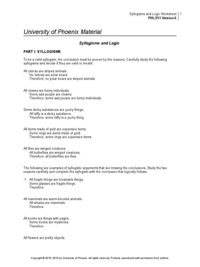 Worksheet Syllogism Worksheet phl251r6 w3 syllogisms and logic worksheet deductive reasoning argument