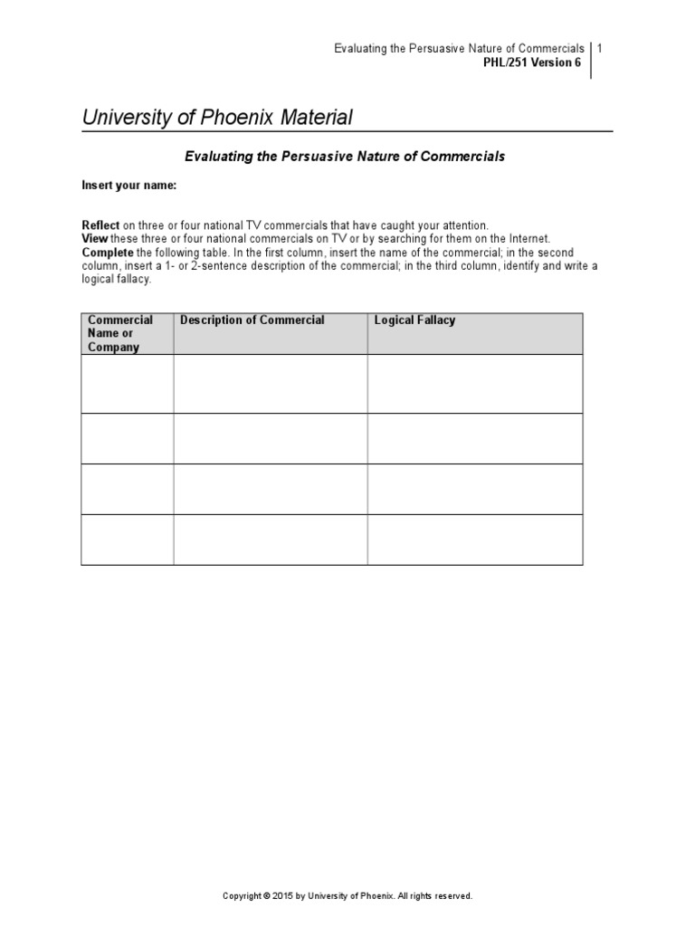 Fallacy Worksheet - Synhoff
