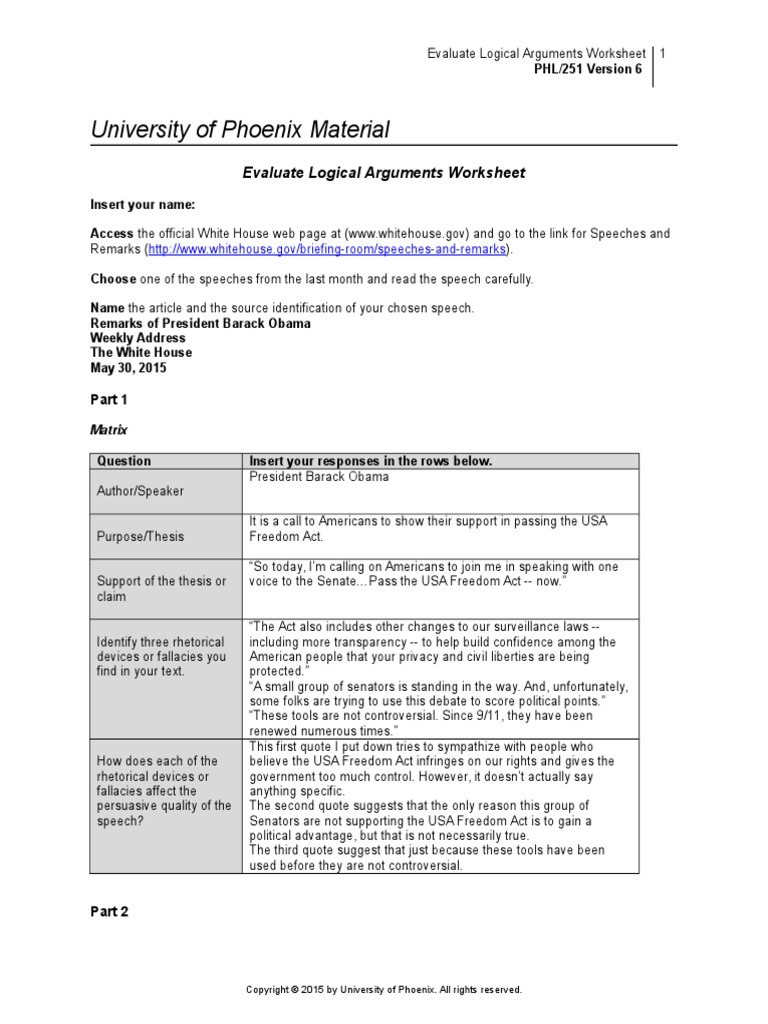 PHL251r6 Wk3 Evaluate Logical Arguments Worksheet Argument
