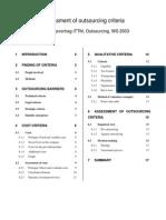 Assessment of Outsourcing Criteria Heiko Florian Handout
